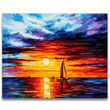 Living Room Decoration,Wall Photos For Room,Sunset Ocean,Diy Oil Painting By Numbers