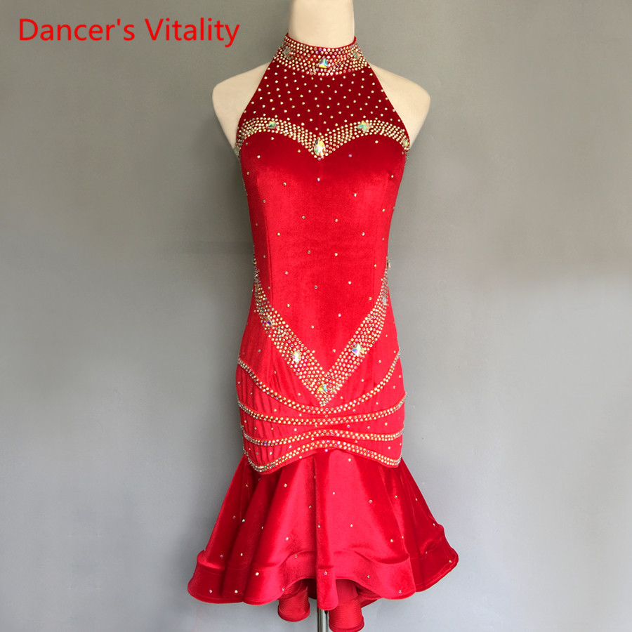 New Velvent Long Sleeves Latin Dance Dress Adult Kids Dancing Competiton Costumes Women/Girls Latin Dance Performance Clothing