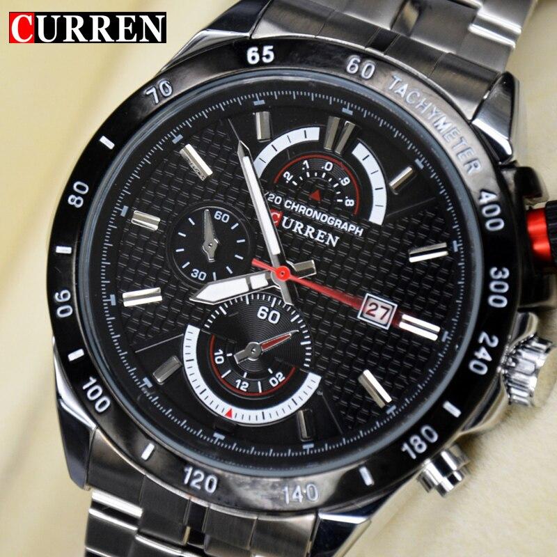 6fc81b3d2ff Curren Top marca completa de aço Inoxidável Relógio de Quartzo relógio  Masculino moda militar Do Exército DOS HOMENS vestido de relógio de Pulso  Relogio ...