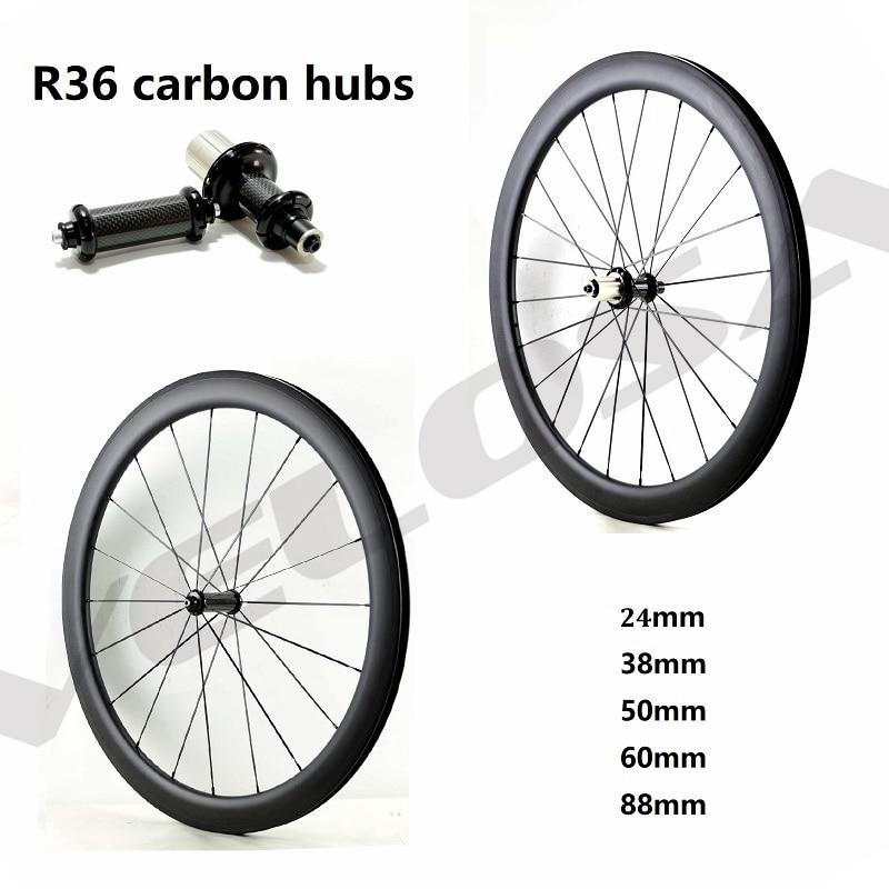 R36 carbon hubs 700C road bike Carbon Wheels 24mm 38mm 50mm 60mm 88mm Tubular Clincher Super