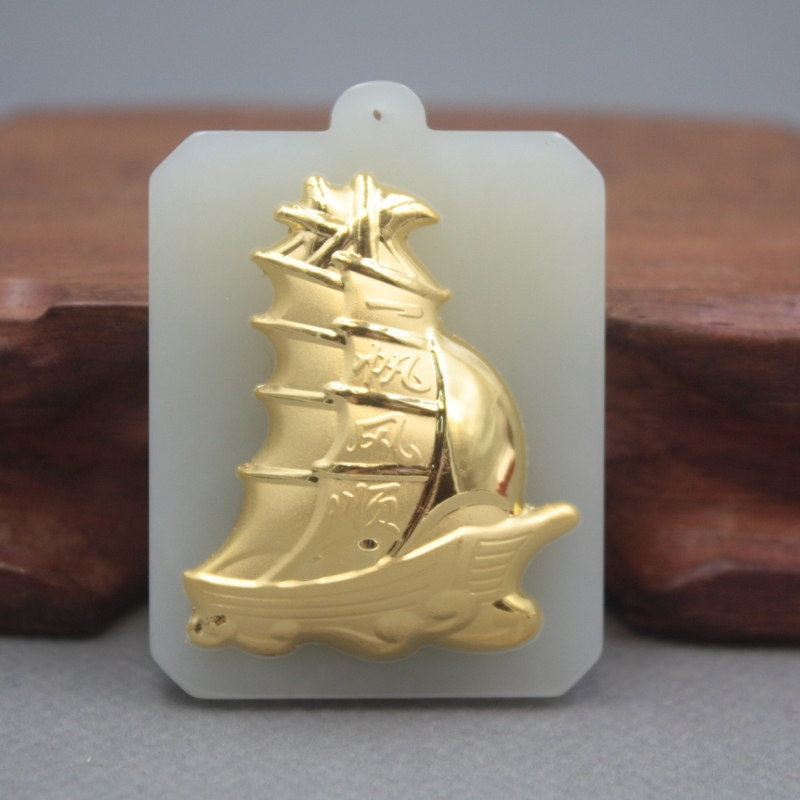 New 24K Yellow Gold Natural Jadeite Jade Women Men Plain Sailing Square Bless Pendant 50x35mm