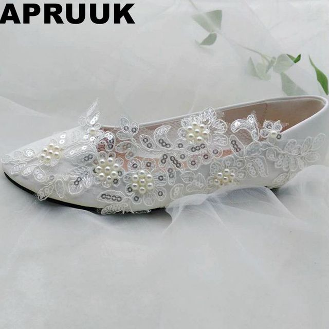 2018 new design silver sequins lace white wedding shoes woman flat heel  round toes pearls brides shoes plus size ballet flats fe475bba17a5