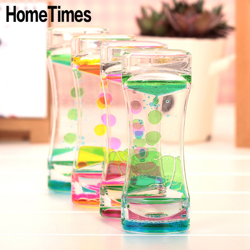 1x Floating Color Mix Illusion Timer Liquid Motion Visual Slim liquid Oil Glass Acrylic Hourglass Desk Decor Clock Ornament -FE