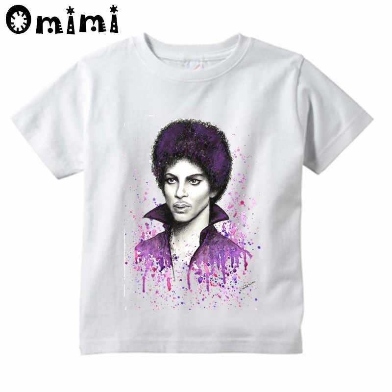 Çocuklar prens mor yağmur tasarım üstleri erkek/kız rahat T Shirt çocuklar Retro rock gitar tur Rogers Nelson RIP beyaz tişört
