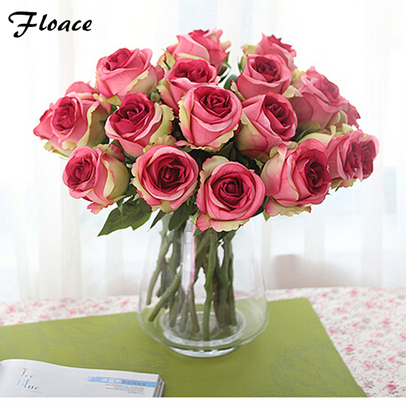 Buy floace 12pcs lot thai royal rose for Artificial flowers decoration for home