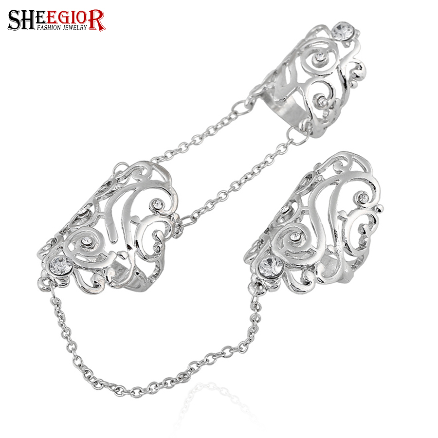 SHEEGIOR Lovely Punk Gold Silver Long Rings for Women Men Hollow Leaf Rhinestone 2 Fingers Chain Ring Femme Fashion Jewelry Gift stuffed toy