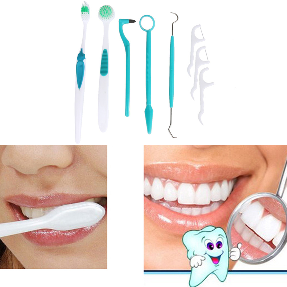8 Pieces Oral Care Dental Care Tooth Brush Kit Cleaning Dental Hygiene Products Toothpicks Tongue Cleaning Whitening Brush