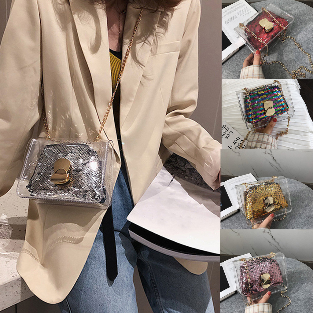 bags for women woman bag Clear Jelly Shoulder Bags Ladies Sequin Chain Handbags crossbody 2019 bolsa feminina(China)
