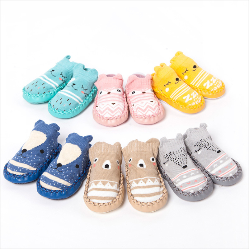 Cute Animals Shoe Socks For Baby Combed Cotton Anti Slip Boy Girl Indoor Socks Leather Sole Newborn Socks 0-24M Home Slippers