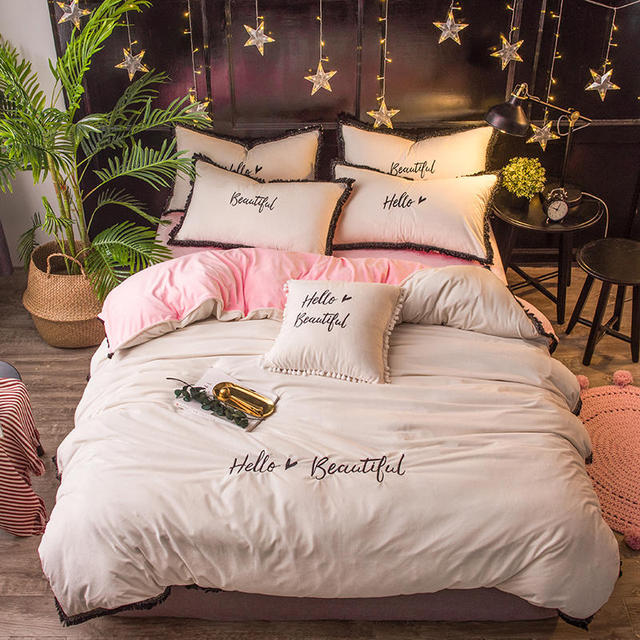 Ivarose Home Textile Winter Fleece Warm Bed Linens White Black Pink