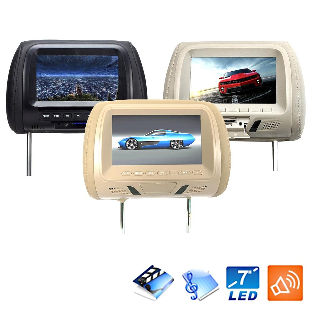 7 Inch Universal Car Camera Headrest Monitor Multi Media Seat Back LED Screen Support Video USB Digital Player Built In Speaker