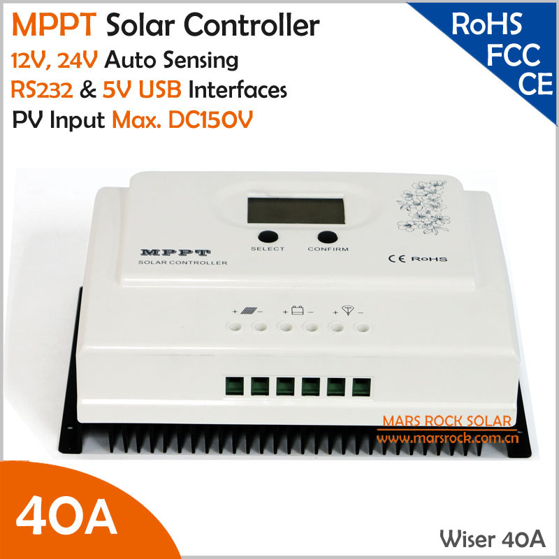 Wiser 40A MPPT solar charge controller 12V/24V auto recognition Max. DC150V PV input with RS232 and 5V USB interfaces new arrivals 1 pc peruvian human virgin hair unprocessed straight top lace closure 4 x4 peruvian straight closure 10 20 inches
