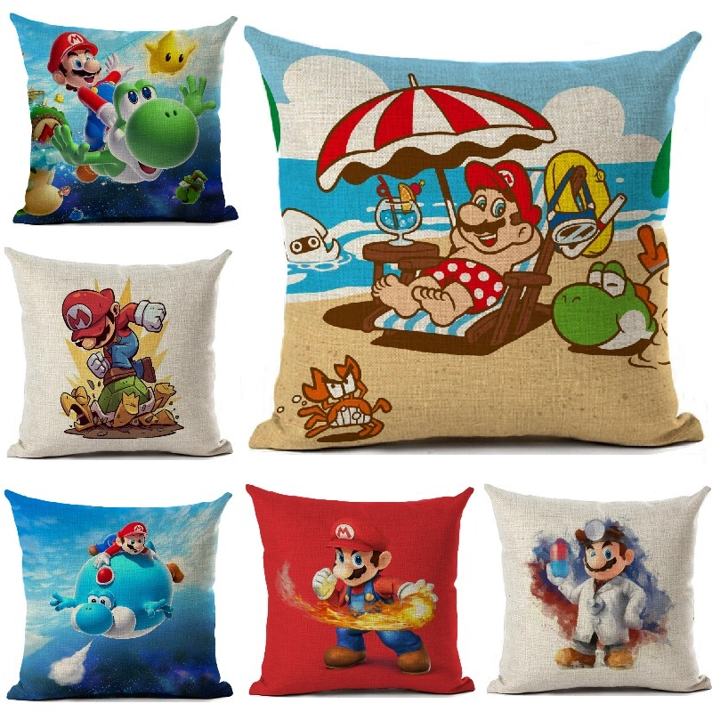 Super Mario Cushion Cover Linen Cartoon Mario Printed Throw Pillow Cover Sofa Car Covers Home Decoration Pillowcase 45x45cm
