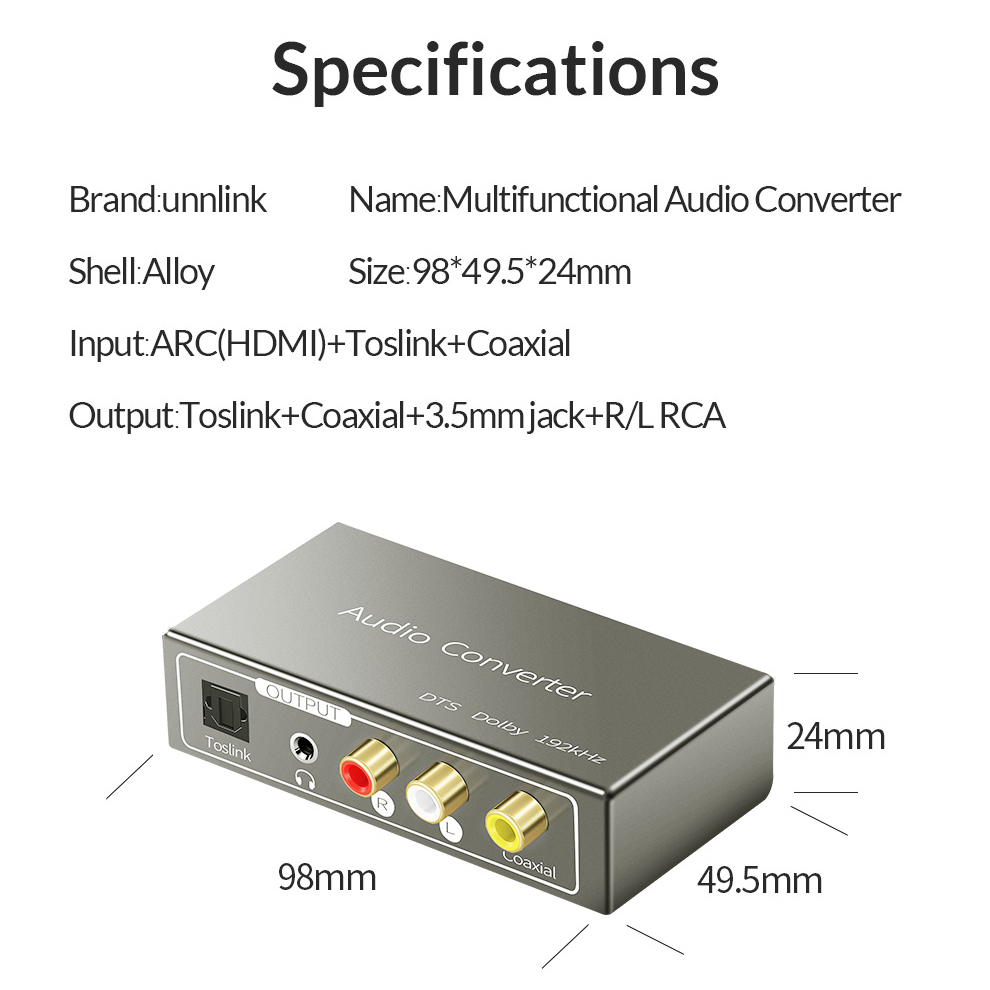 Hdmi Arc Unnlink Hdmi Arc To Spdif Toslink Coaxial Rca 3 5mm Jack Audio Converter 192 Khz Dac For Ps3 Ps4 Smart Led Tv Amplifier Speaker