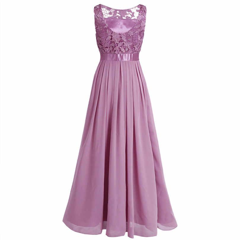 Элегантное женское шифоновое платье макси без рукавов с вышивкой длинное платье для свадебной вечеринки вечернее женское платье