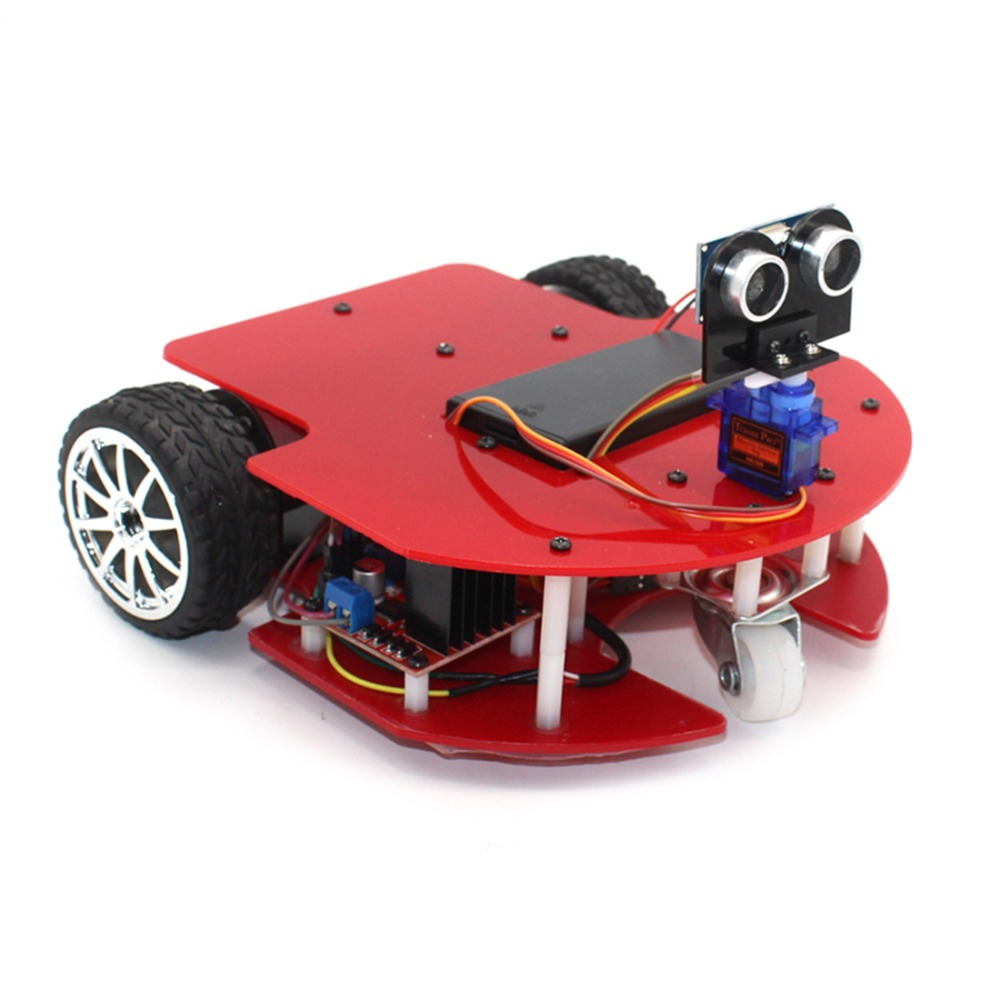 DIY zhuiz Smart Car Ultrasonic Obstacle Avoidance Trolley 51 Microcontroller Kits Anti drop Robot Model for Kids Toys