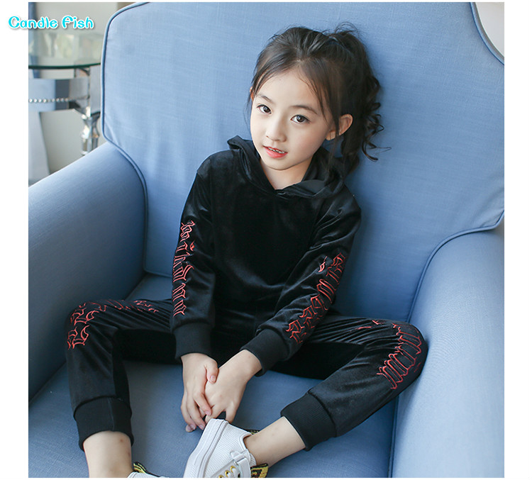 Girls sweater suit autumn 2017 new girls long sleeve leisure children suit fall sports two-piece sets anne klein new jade long sleeve sequin sweater s $79 dbfl