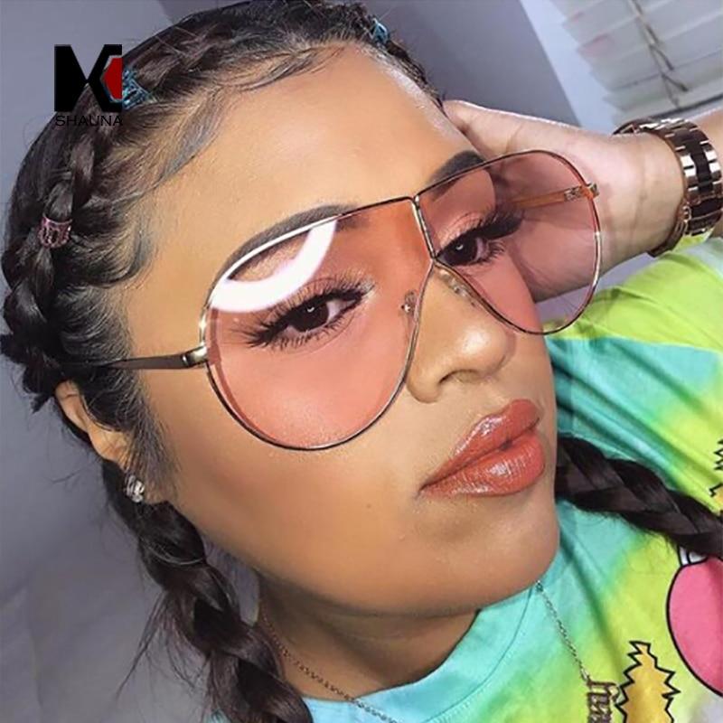 SHAUNA Oversize Summer Styles Women Pilot Sunglasses Fashion Yellow Tinted Lens Glasses