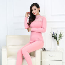 Winter Black Elegant Slim Turtleneck Women's Thermal Underwear Set Velvet Thick Lace Warm Suit Female Pink Long Johns Pajamas(China)
