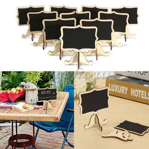 10 piezas Mini estantería de almacenamiento de pizarra de madera soporte de pizarra Mensaje de madera para fiesta de boda Etiqueta de mesa