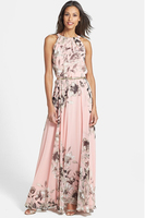 Free Shipping High Quality Western Style Fashion Halter Neck Off Shoulder Flower Printed Woman Long