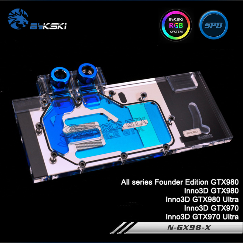 Bykski N-GX98-X Full Cover Graphics Card Water Cooling Block RGB/RBW/ARUA for All seriesFounderEdition GTX980, Inno3D GTX980/970 багажники inno