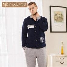 Qianxiu Winter Men's Pajamas Thickening Polyester Mens Pyjama Sets Lounge Wear Couples Nightwear Male Sleepwear Homewear Men