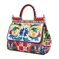 Luxury Italy Brand Ethnic Flower Color Print Sicilian Bag Genuine Leather Women Tote Bag Female Shoulder Bags Original Quality