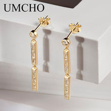 UMCHO Trendy Genuine 100% 925 Sterling Silver Drop Earrings For Women Fashion Jewelry 2018 Birthday Gifts Fine Jewelry(China)