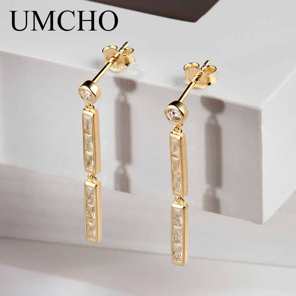 UMCHO Trendy Genuine 100% 925 Sterling Silver Drop Earrings For Women Fashion Jewelry 2018 Birthday Gifts Fine Jewelry