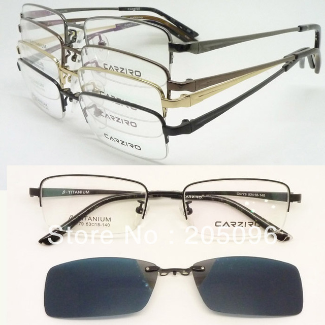 wholesale 5 units a lot optical titanium frame with magnetic easy clip on eyeglass uv400 polarized - Easy Clip Frames