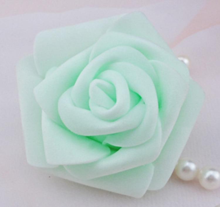 100 teile / los 6 cm Schaum Rose Köpfe Künstliche Blumenköpfe Mint - Partyartikel und Dekoration - Foto 5