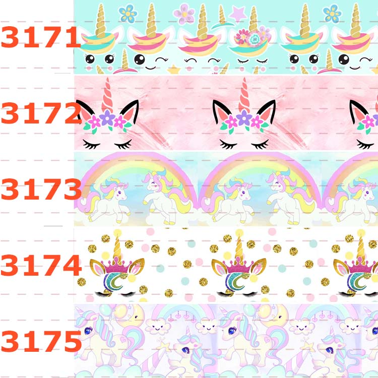 10yards - Different Sizes -Cartoon Unicorn Pattern Printed Grosgrain Ribbon -Cartoon Animal /unicorn Printed Ribbon