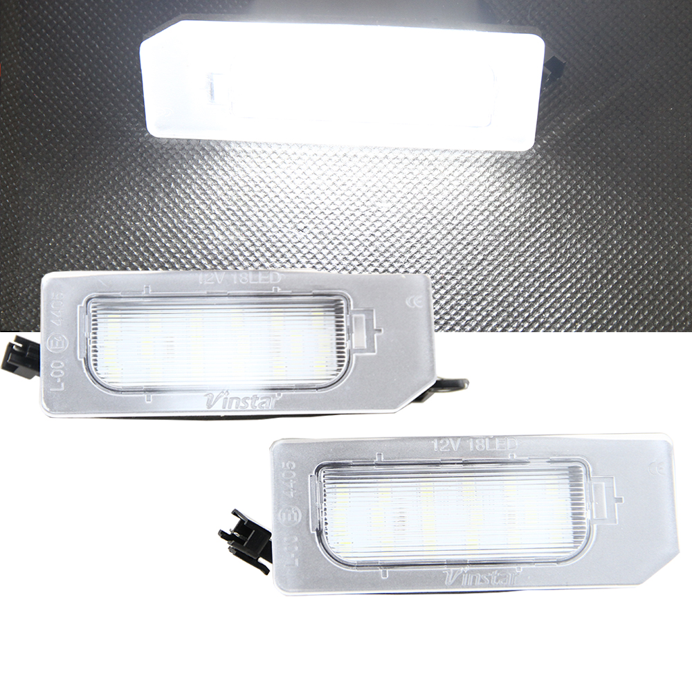 1 Pair White 6000K Car LED License Plate Light Lamp Canbus Error Free 12V For Mitsubishi ASX Rear Light 2pcs lot 24 smd car led license plate light lamp error free canbus function white 6000k for bmw e39 e60 e61 e70 e82 e90 e92
