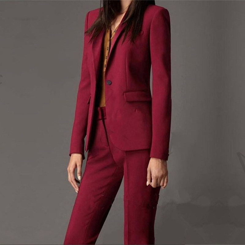 La Pantalon Mince Femmes blue veste Personnalisé Gray light khaki Black red Seul Deux Red Costume piece purple Bouton wine De D'affaires Wear Suit Dames pink Mode Business Officielles yellow qvEE57