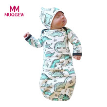 2018 Newborn Baby Sleeping Bag Kids Sleep Sack Infant Baby Boy Blankets Cartoon Dinosaur Baby Winter Sleeping Bag Hat 2pcs Set(China)