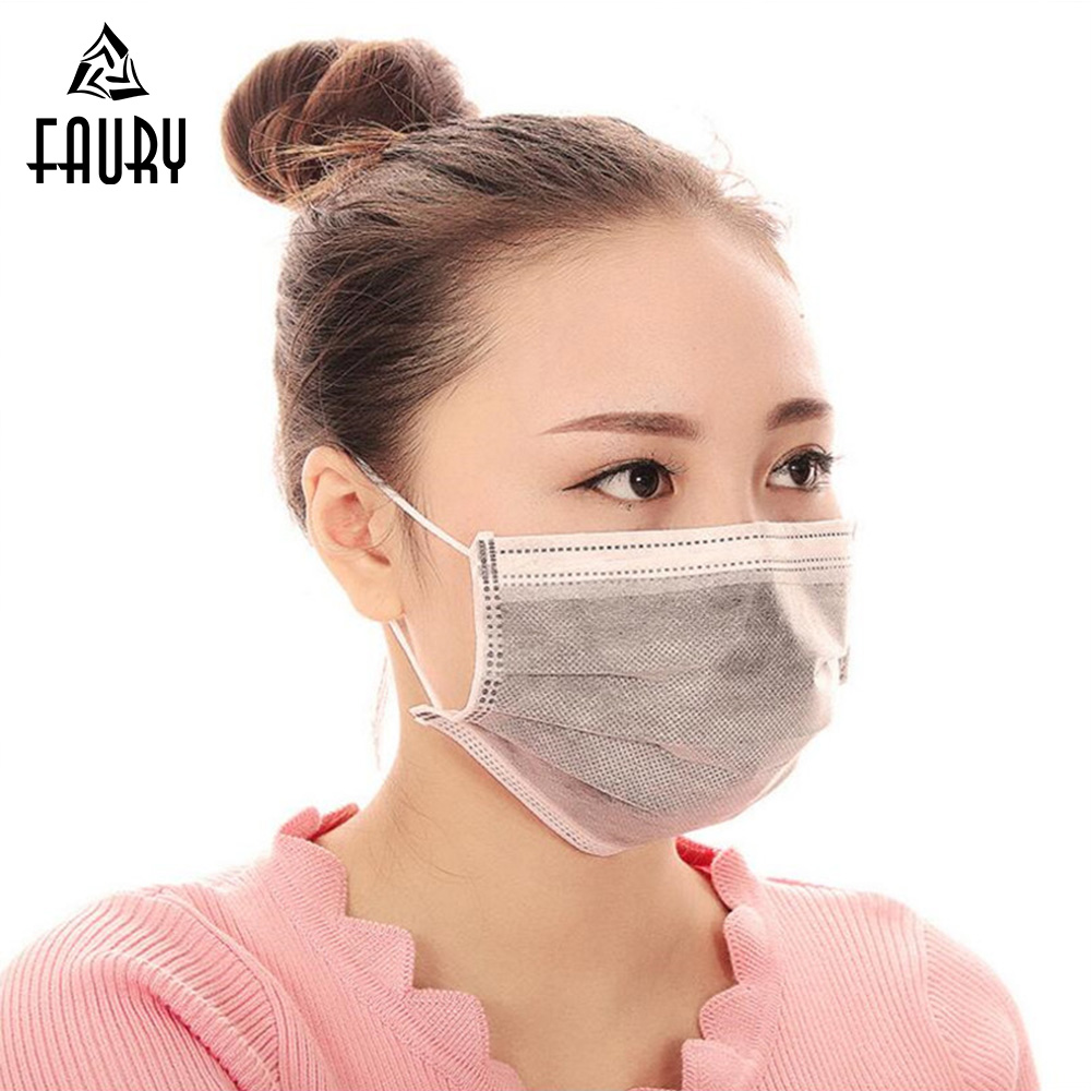 10pcs medical mask Activated carbon filter 4 layers Non-woven disposable mask Anti-haze mouth mask Anti virus Mouth-muffle image