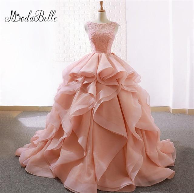 fd5854e769e Modabelle Ruffles Floor Length Ball Gown Elegant Blush Pink Quinceanera  Dresses Organza Sleeveless vestidos de 15 anos