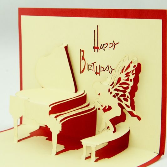 Birthday to play the piano card/3D  kirigami card/ handmade greeting cards gift for men  Free shipping two books and many style collection of paper 72pcs the celebration card party a necessary birthday cards free shipping