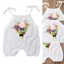 2018 New Summer Toddler Baby Girls Embroidery Flower Strap Romper White Sleeveless Loose Jumpsuit Playsuit Casual Clothes Outfit(China)