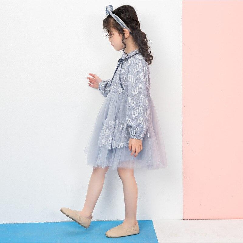 Été bébé fille robe 2019 nouveaux enfants doux mode filles élégantes robe de princesse enfants vêtements Style européen fête de mariage - 5