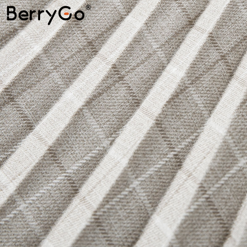 BerryGo Autumn winter women blazer dresses vestidos Pleated plaid long dress elegant Office ladies high waist belt female robe 15
