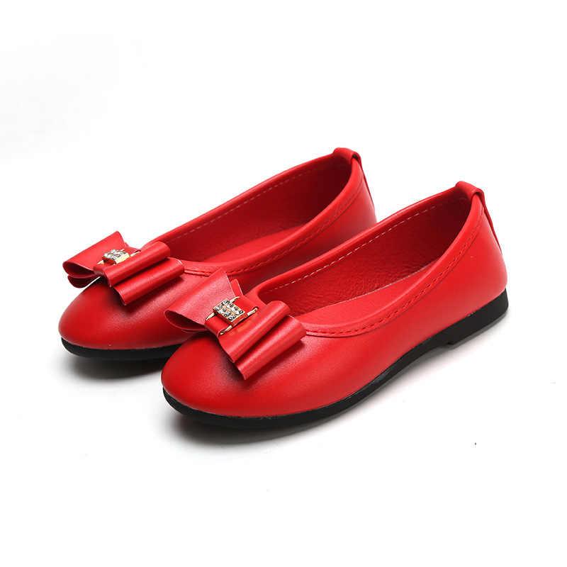 Mumoresip Bahar Yüksek Kaliteli Şık Çocuklar Kızlar Için Ayakkabı Yumuşak deri makosenler Bow-knot Ile Çocuk Bale Daireler Ile Rhinestone