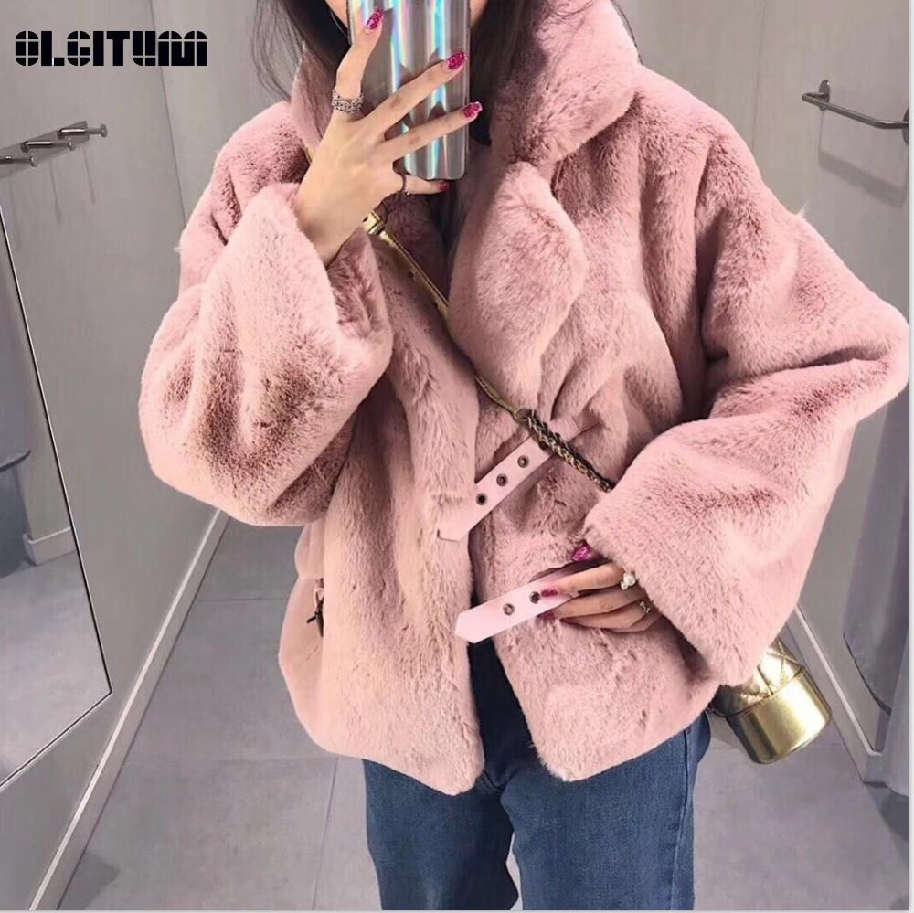 Новинка 2018, зимнее мягкое меховое пальто для женщин, имитация кроличьего меха, куртка с длинным рукавом, свободное, сохраняющее тепло, мохнатое меховое пальто, женская верхняя одежда