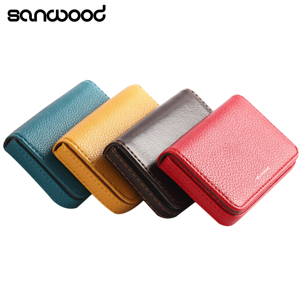 Good Quality Faux Leather Magnetic Closure Business ID Name Pack Credit Card Holder ...
