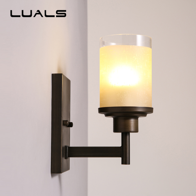 LUALS American Style Wall Lamp Contracted Sitting Room Wall Light Metal Bedroom Bedside Vintage Wall Lamps Art Deco Lighting simple american full copper chandelier fashion contemporary and contracted sitting room the bedroom lamp study restaurant lamps