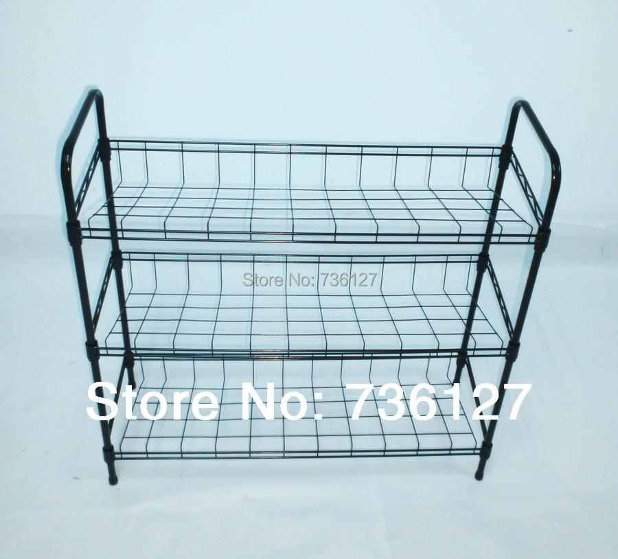 Household DIY 3 Tier Steel Wire Shoe Rack Storage Shelf Black for ...