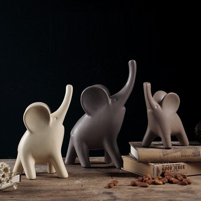 Minimalist ceramic elephant statue family home decor crafts room decoration ceramic handicraft porcelain animal figurine