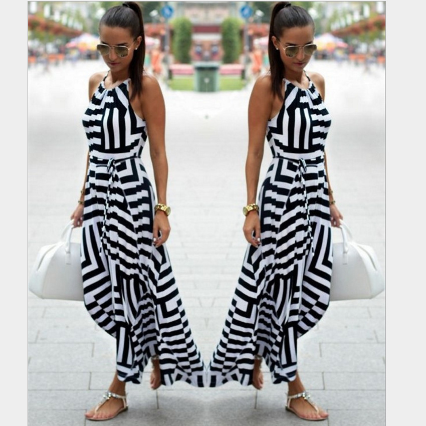 Womens V Neck Boho Maxi Dress Geometric Print Elastic Sashes Long Pleated Sundress Summer 2019 in Dresses from Women 39 s Clothing