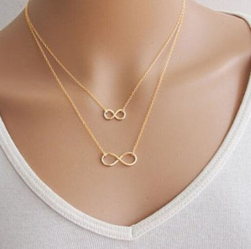 Silver Gold Plated Women Girl Fashion Jewelry Double Infinity Pendant Necklace Wedding Event Necklaces  XY-N503